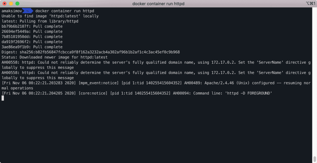 docker container run httpd - command