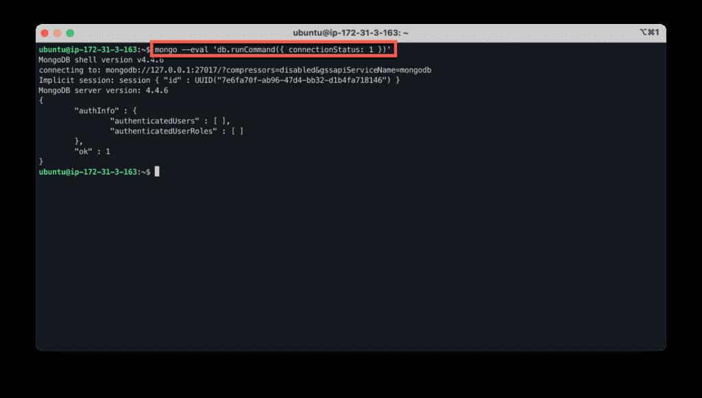 19. How to install MERN stack on Ubuntu in the AWS cloud - Ubuntu - MongoDB - Verify connection status