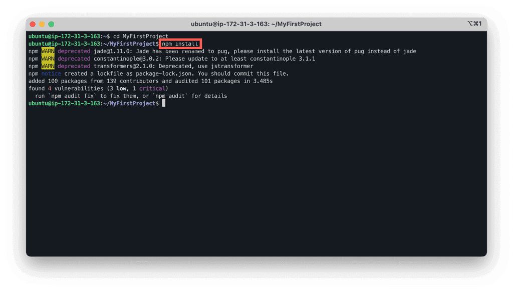 30. How to install MERN stack on Ubuntu in the AWS cloud - Ubuntu - Express.js - Install project dependencies