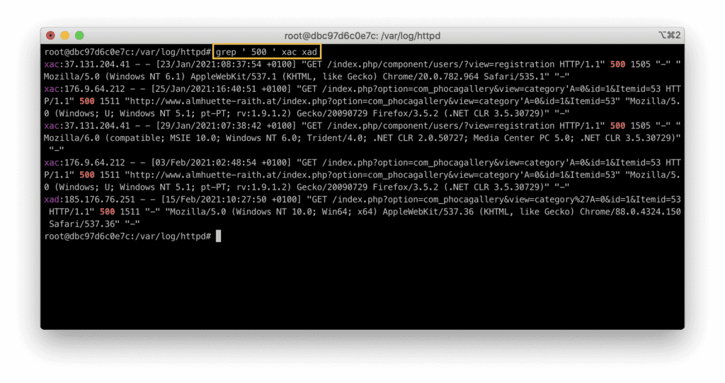5. How to use grep in Linux - Search for HTTP 500 error in access