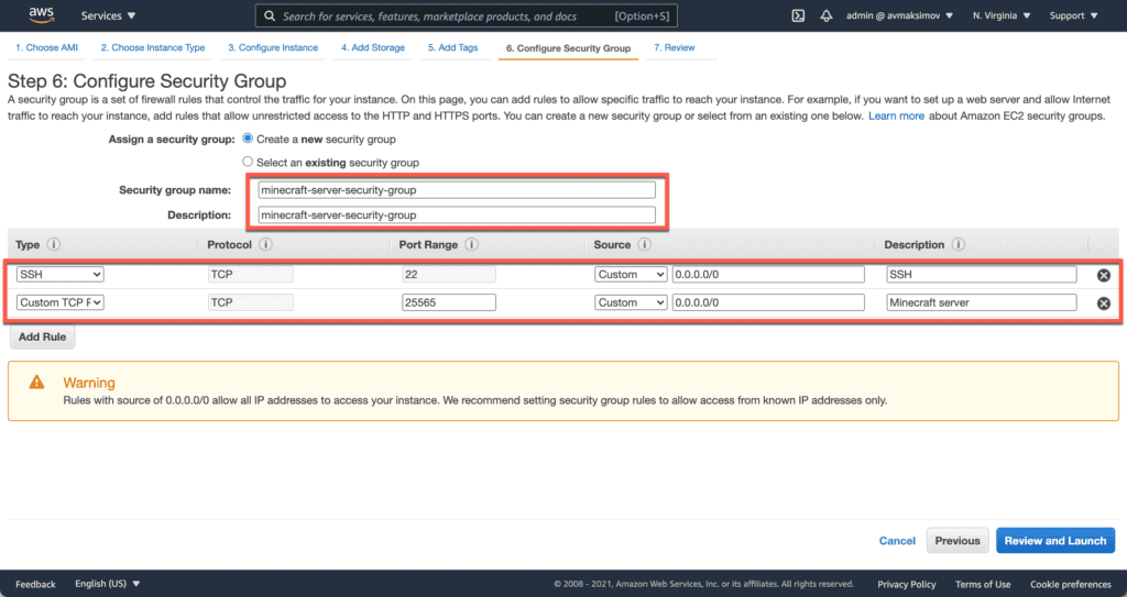 6. How to Setup a Minecraft Server on Ubuntu, Windows, and CentOS in AWS cloud - Launching EC2 instance - Security Group Linux