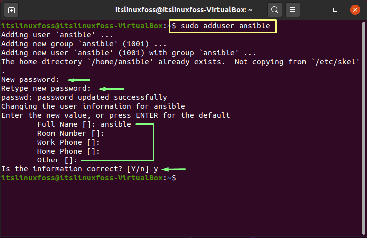 7. How To Install and Configure Ansible on Ubuntu - adduser ansible