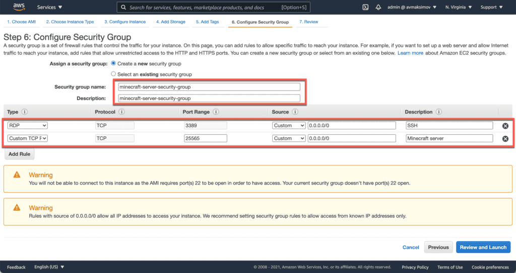 7. How to Setup a Minecraft Server on Ubuntu, Windows, and CentOS in AWS cloud - Launching EC2 instance - Security Group Windows