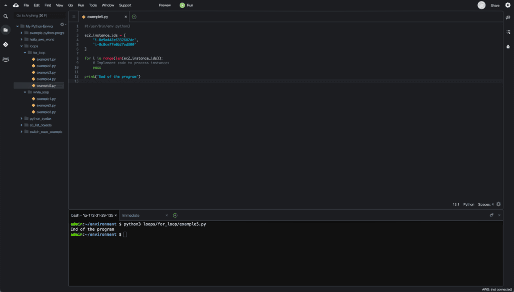 10. Loops in Python - Cloud9 IDE - pass example