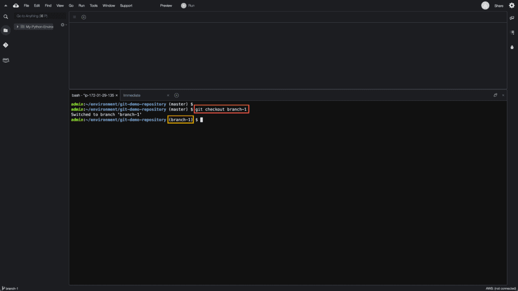 12. How to create, rename and delete Git branches - Selecting Git branch