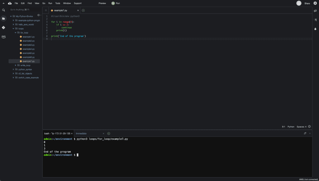 12. Loops in Python - Cloud9 IDE - continue example