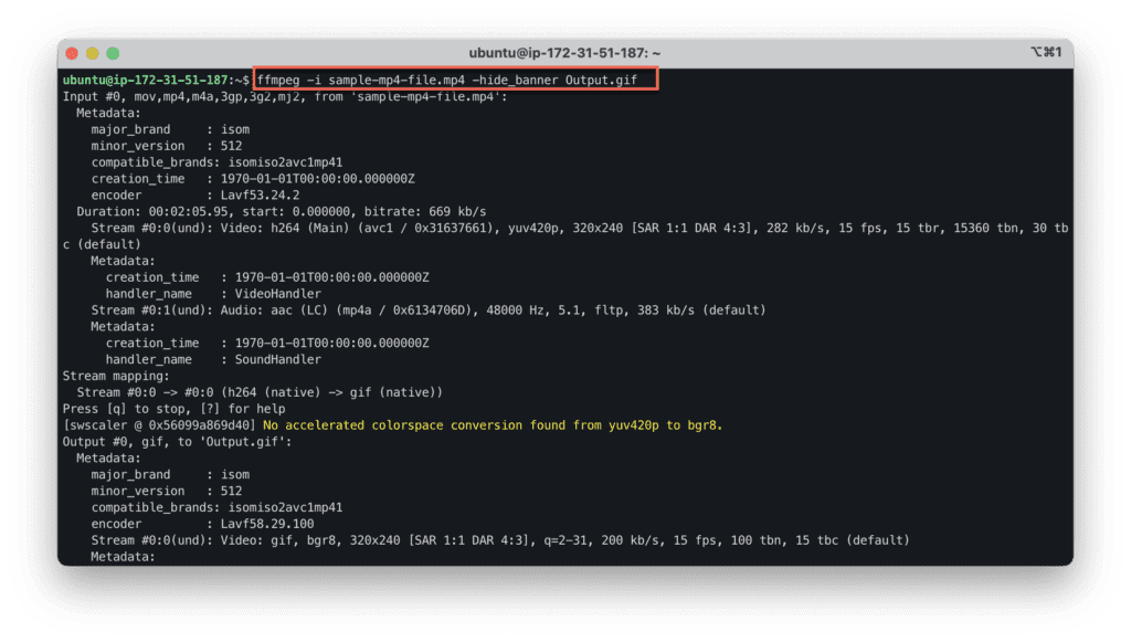 15. The most useful FFmpeg commands for audio and video conversion - Convert video into an animated GIF