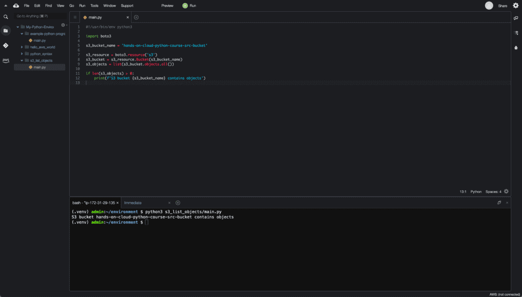 2. Conditionals in Python - if statement example - Cloud9 IDE
