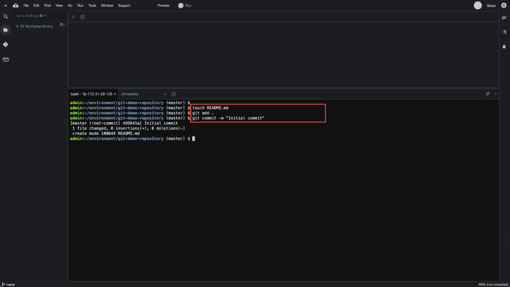 3. How to create, rename and delete Git branches - Initial commit