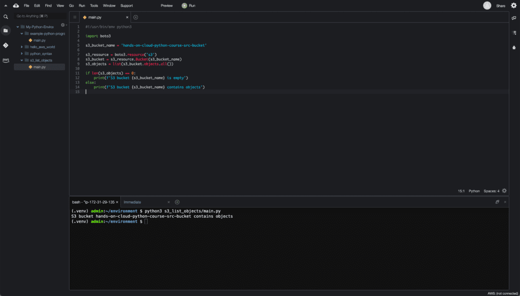 4. Conditionals in Python - if-else statement example - Cloud9 IDE