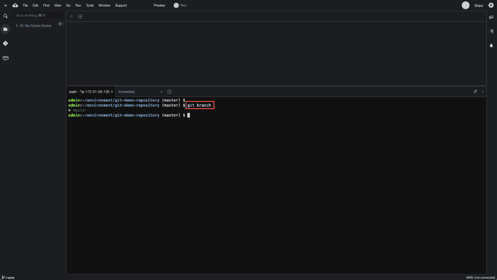 4. How to create, rename and delete Git branches - Viewing local Git branches
