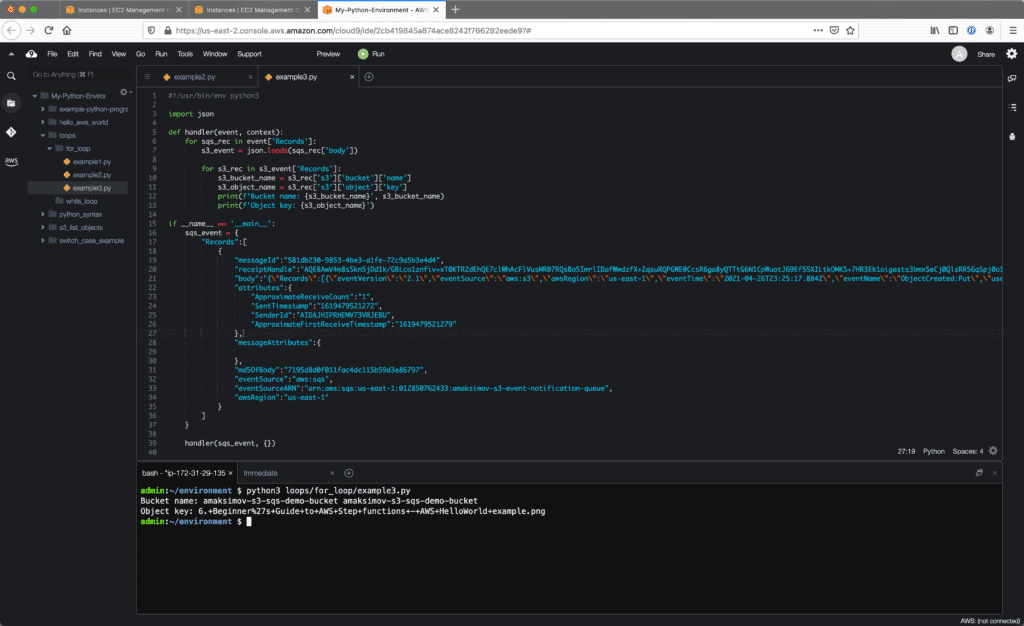 4. Loops in Python - Cloud9 IDE - nested for loop example
