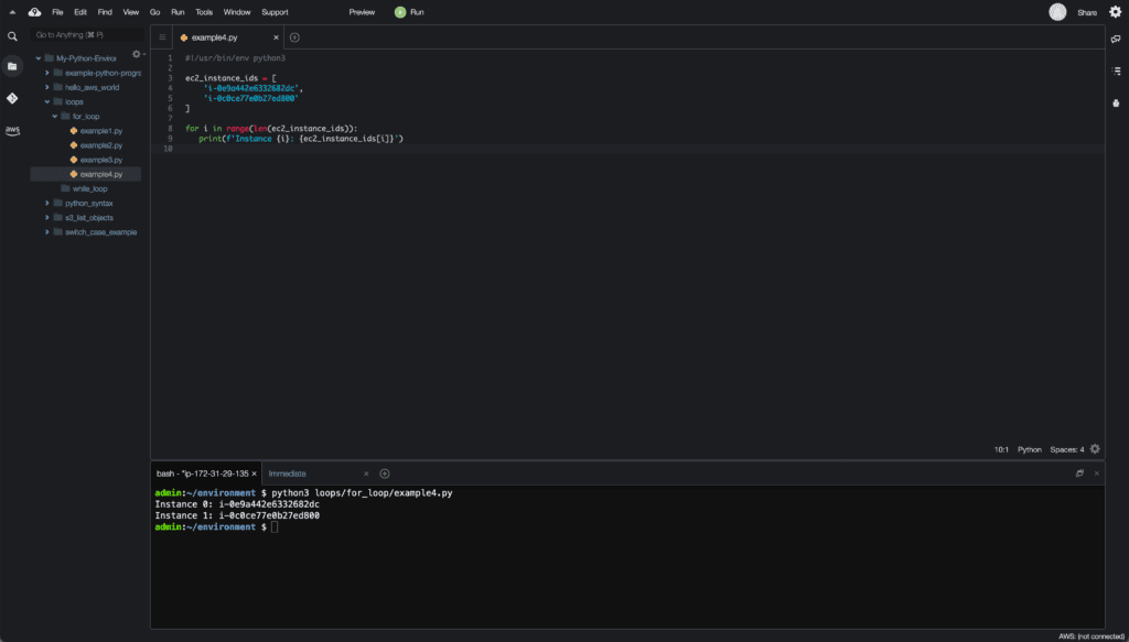 5. Loops in Python - Cloud9 IDE - for loop with index example