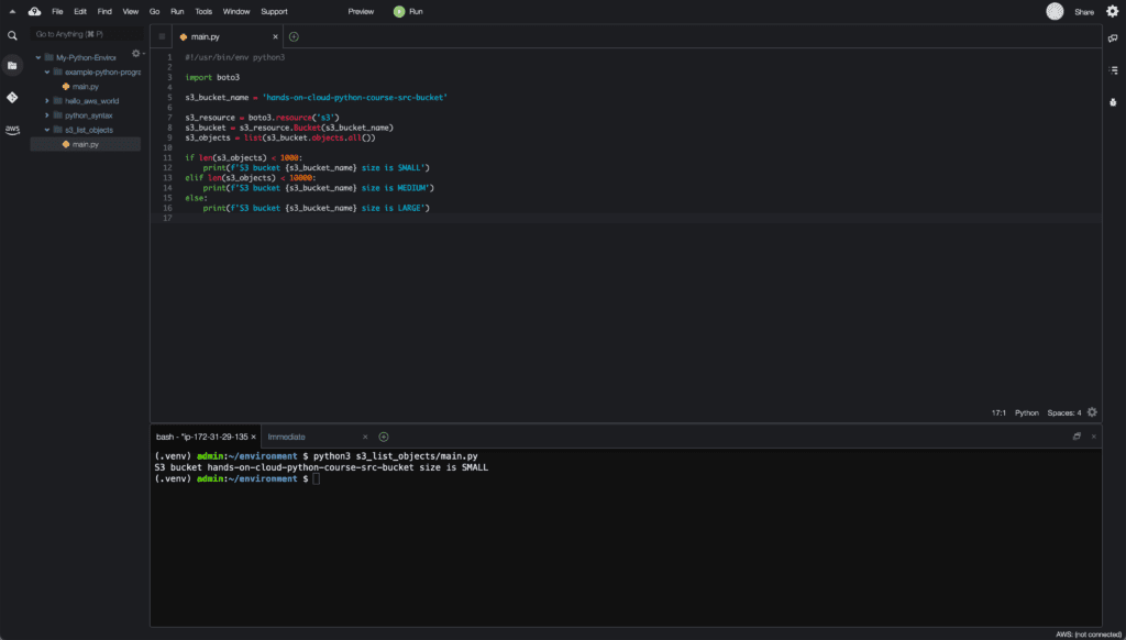 6. Conditionals in Python - if-elif-else statement example - Cloud9 IDE