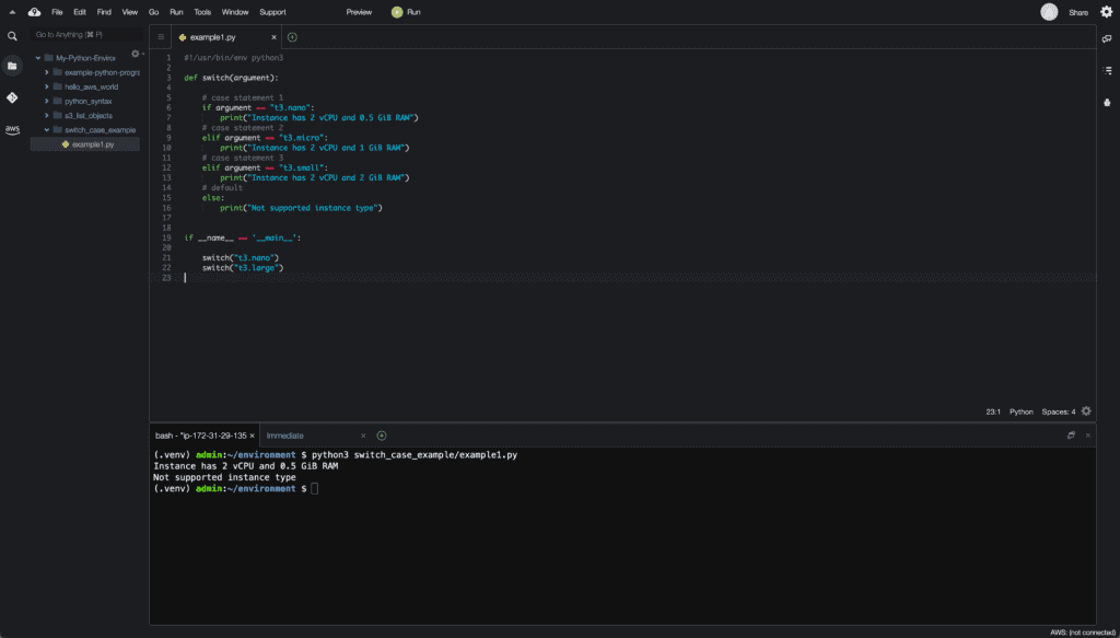 8. Conditionals in Python - switch case example using conditionals - Cloud9 IDE