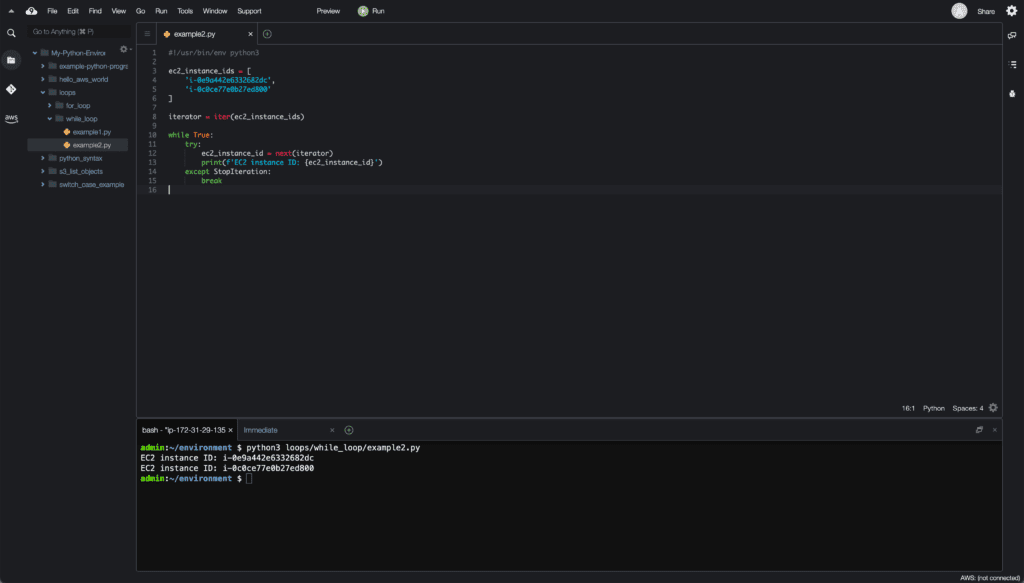 8. Loops in Python - Cloud9 IDE - while loop with iterator example