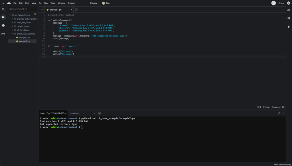 9. Conditionals in Python - switch case example using dictionary - Cloud9 IDE