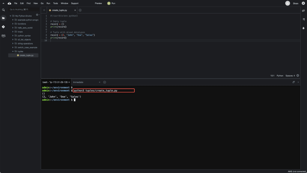 1. Working with Tuples in Python - Creating tuple