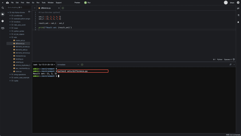 11. Working with Sets in Python - Difference