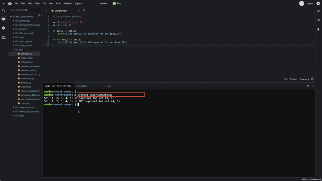 13. Working with Sets in Python - Comparing sets