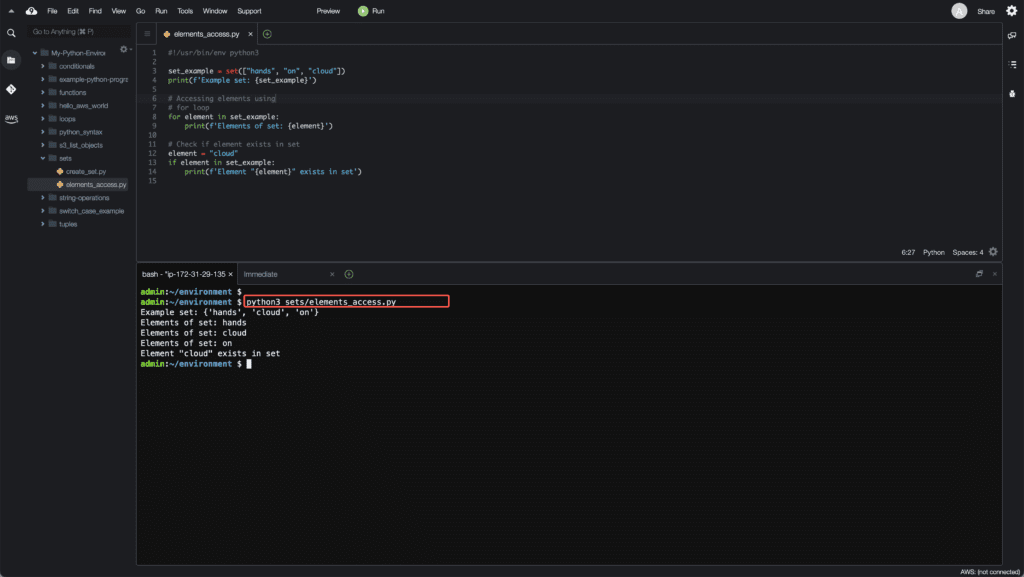 2. Working with Sets in Python - Accessing elements