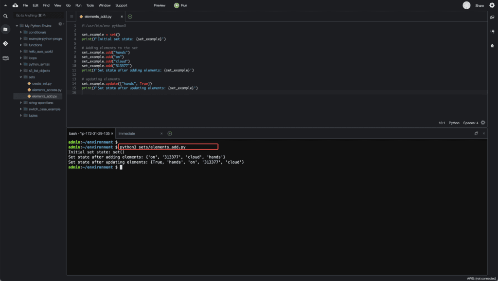3. Working with Sets in Python - Adding elements