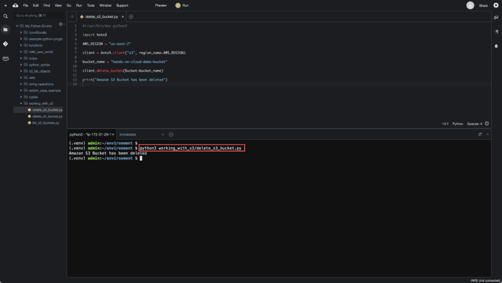 4. Working with S3 in Python - How to delete S3 buckets using Boto3