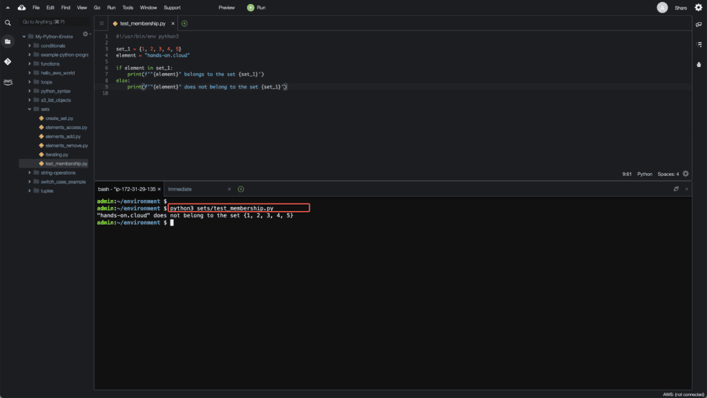 6. Working with Sets in Python - Test element membership