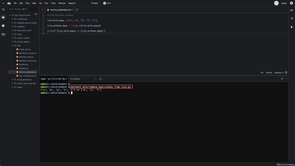8. Working with Sets in Python - Remove duplicates from list