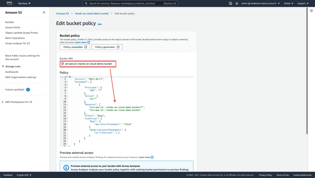 AWS Web Console - Edit S3 Bucket Policy - Enforce TLS (HTTPS) for API calls