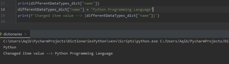 Working With Dictionaries In Python - Change Item Value