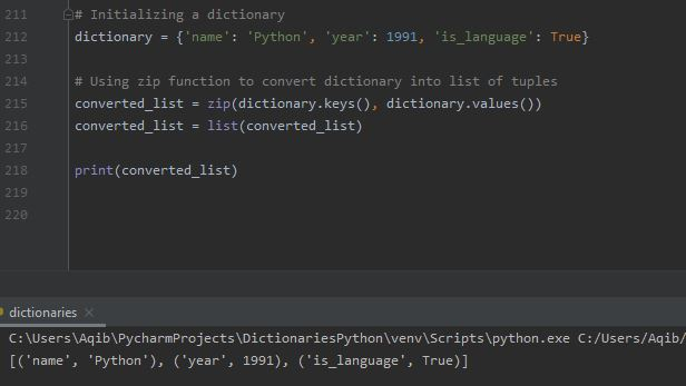Working With Dictionaries In Python - Convert Dictionary To List Using Zip