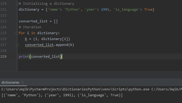 Working With Dictionaries In Python - Convert Dictionary To List Using iteration