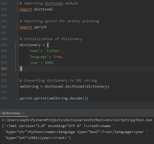 Working With Dictionaries In Python - Convert Dictionary To XML
