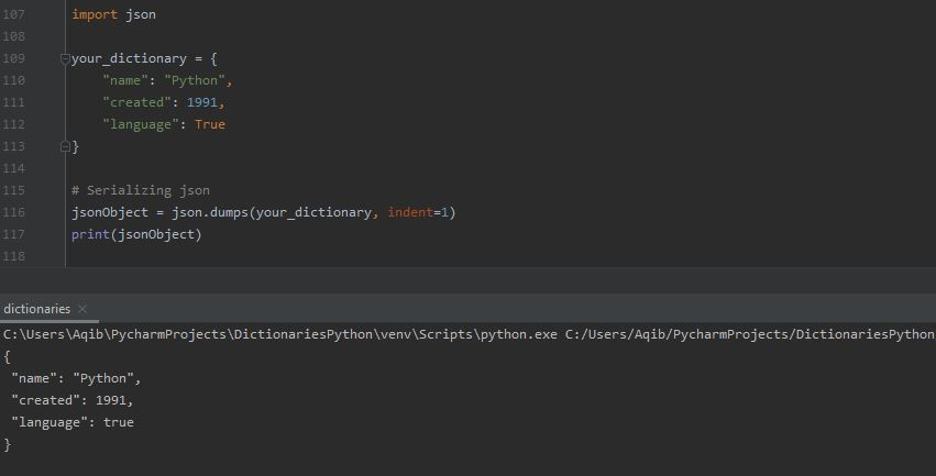 Working With Dictionaries In Python - Convert Dictionary into JSON Object (json.dumps())