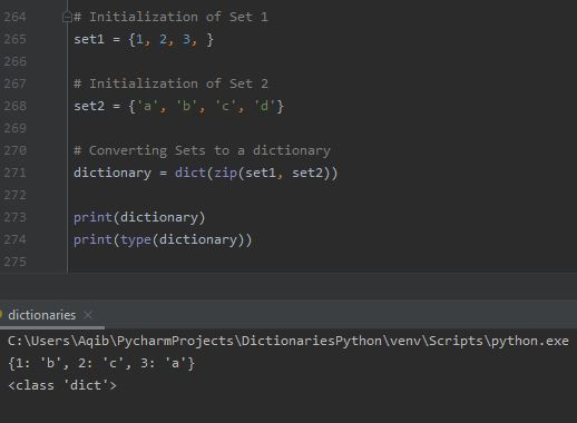 Working With Dictionaries In Python - Convert Set to Dictionary 1