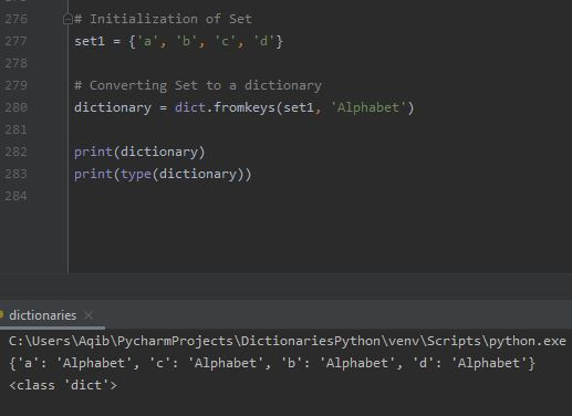 Working With Dictionaries In Python - Convert Set to Dictionary 2