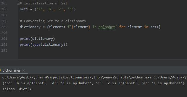 Working With Dictionaries In Python - Convert Set to Dictionary 3