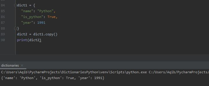 Working With Dictionaries In Python - Copy Dictionary