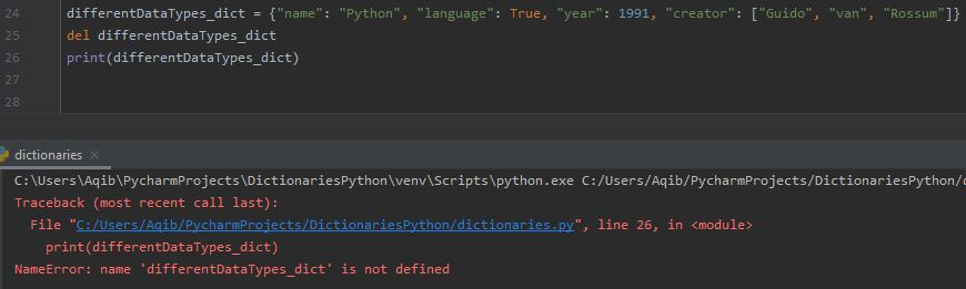 Working With Dictionaries In Python - Deleting Whole Dictionary