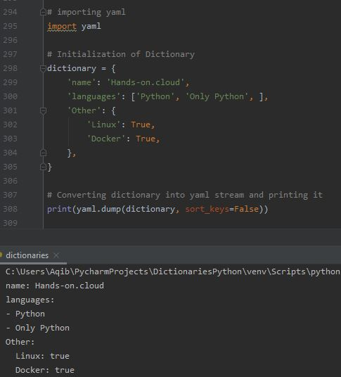 Working With Dictionaries In Python - Dictionary To YAML