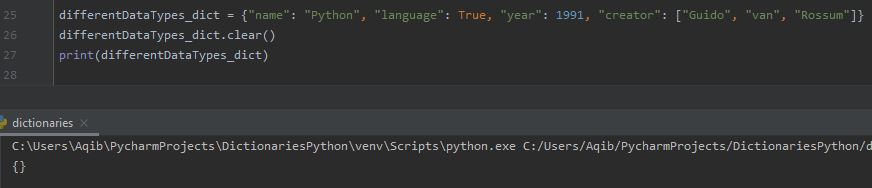 Working With Dictionaries In Python - Emptying A Dictionary