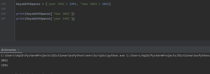 Working With Dictionaries In Python - Keys With Spaces