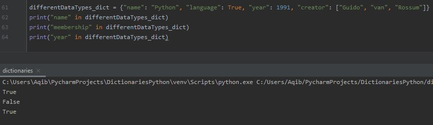 Working With Dictionaries In Python - Membership Test