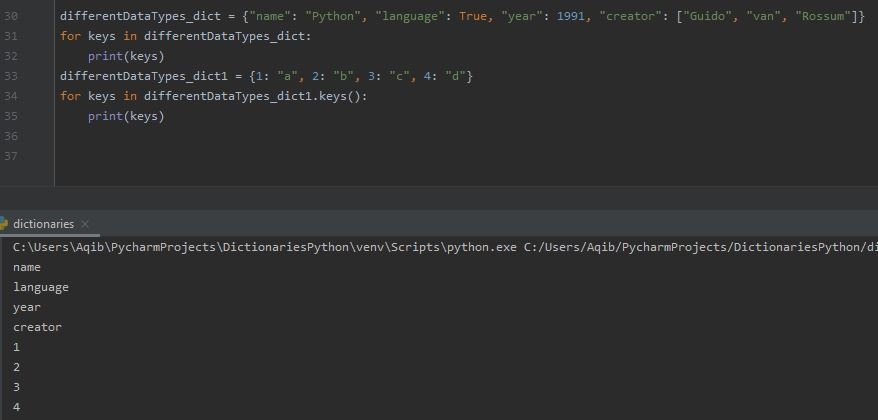 Working With Dictionaries In Python - Printing Keys Using For Loop