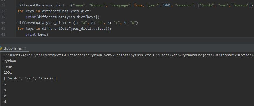 Working With Dictionaries In Python - Printing Values Using For Loop