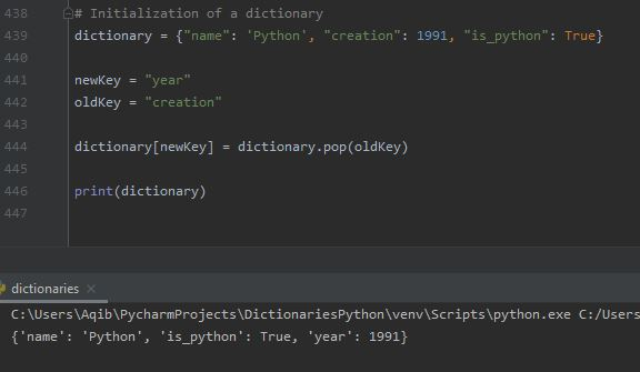 Working With Dictionaries In Python - Renaming A Dictionary Key