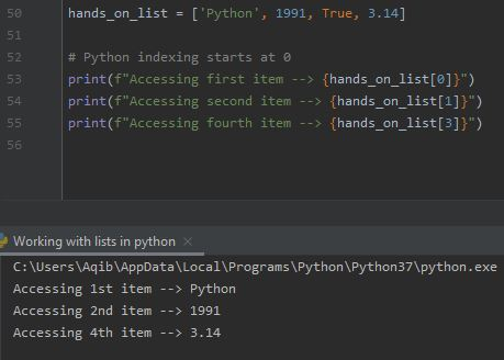 Working With Lists In Python - Accessing List Items