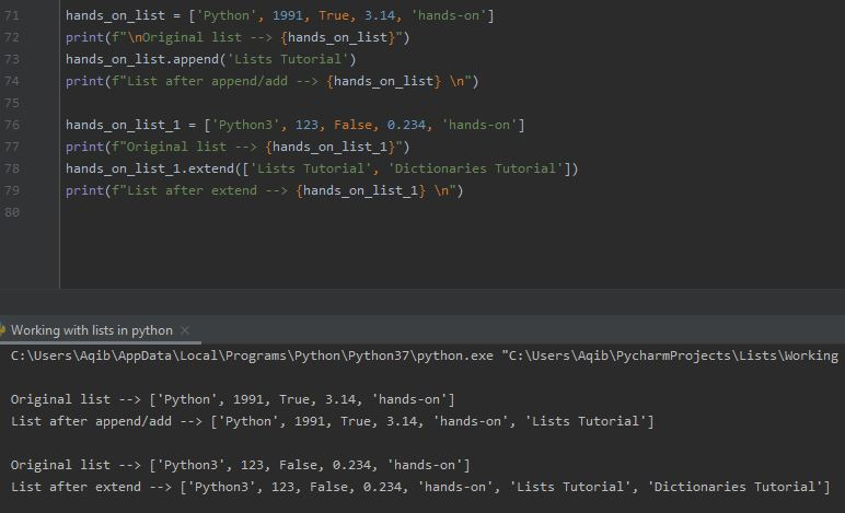Working With Lists In Python - Append & Extend Lists