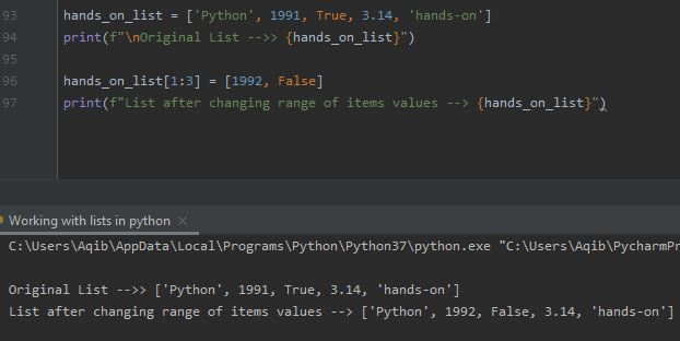 Working With Lists In Python - Changing Range Of Items Values